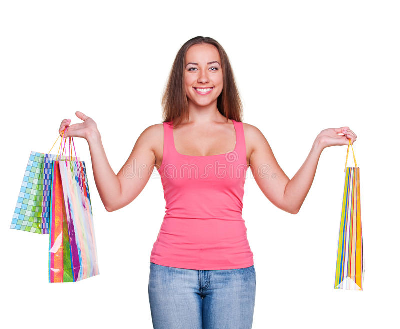 Attractive Woman Holding Shopping Bags Stock Photo