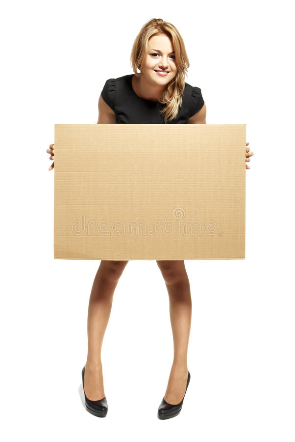 Download Attractive Woman Holding Up A Blank Sign Stock Images - Image: 25977354