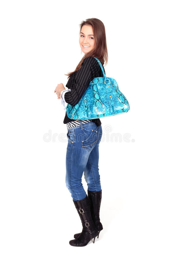 Free Attractive Woman In Jeans With A Bag Royalty Free Stock Photos - 13913378