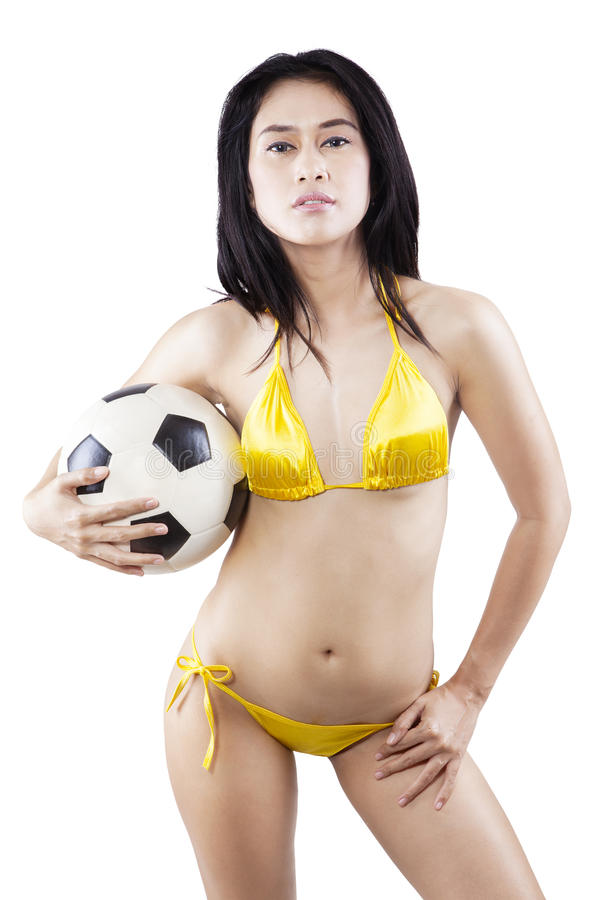 Free Attractive Woman In Swimsuit Holding Ball 1 Stock Image - 41579121