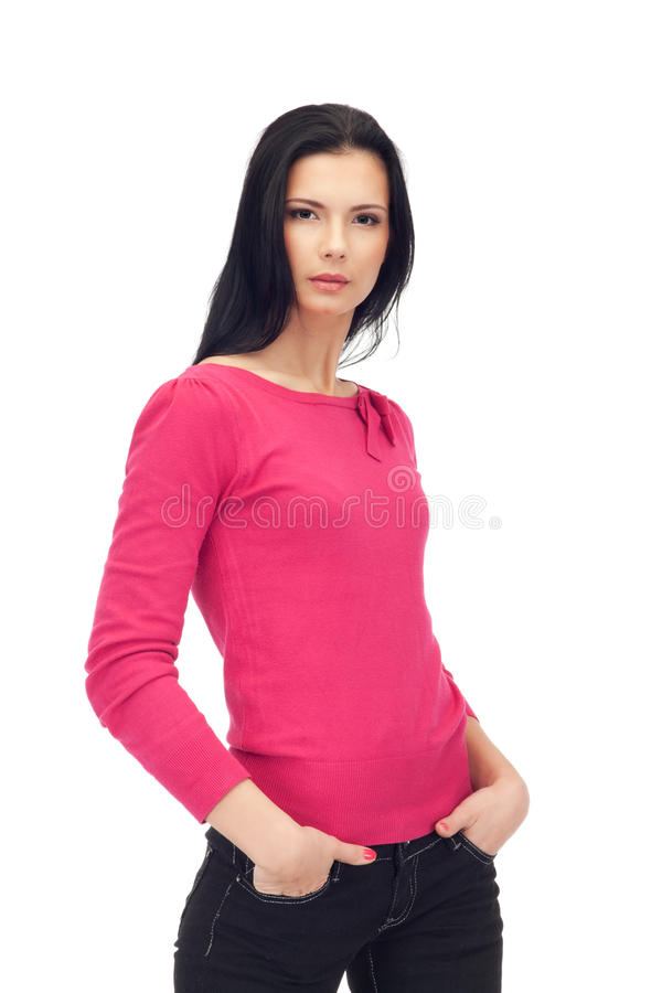 Attractive Woman In Jeans And Blouse Isolated Royalty Free Stock Image