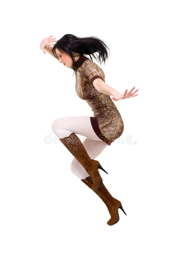 Attractive Woman Jumping Royalty Free Stock Photography