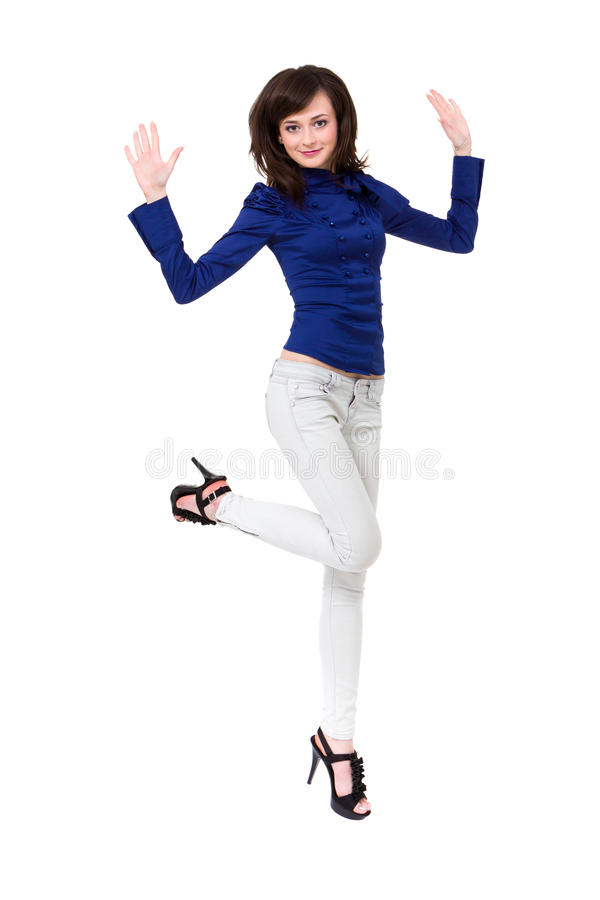 Download Attractive woman jumping stock image. Image of exercise - 26884071