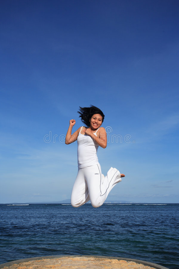 Download Attractive Woman Jumping stock photo. Image of champion - 432068
