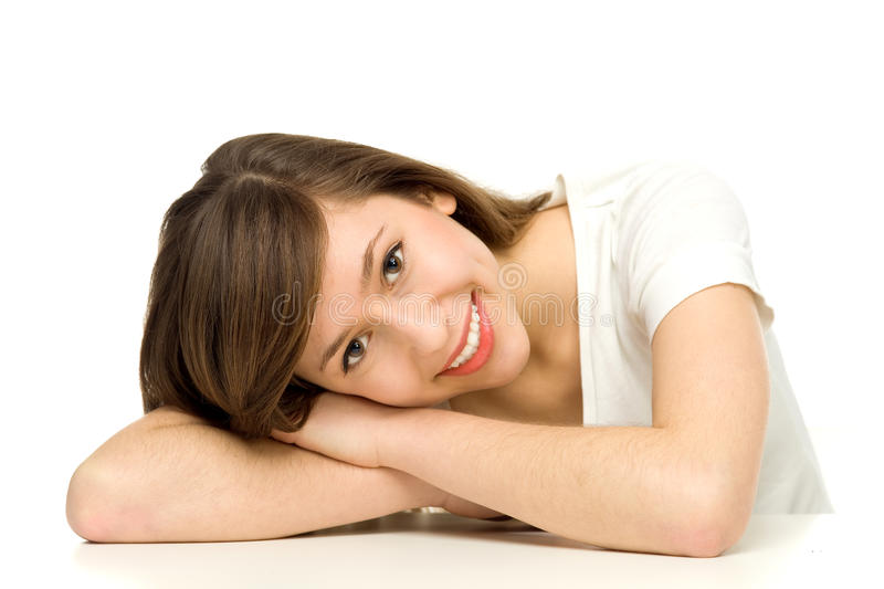 Download Attractive Woman Leaning On Table Stock Image - Image: 23006755