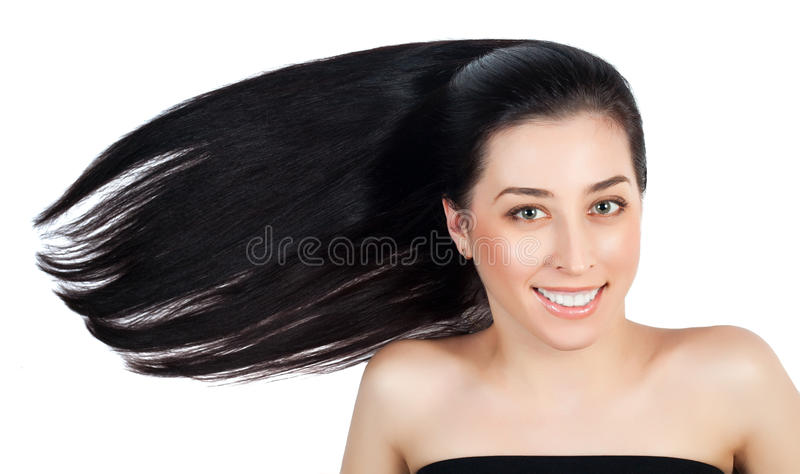 Attractive woman with long brown straight hairs