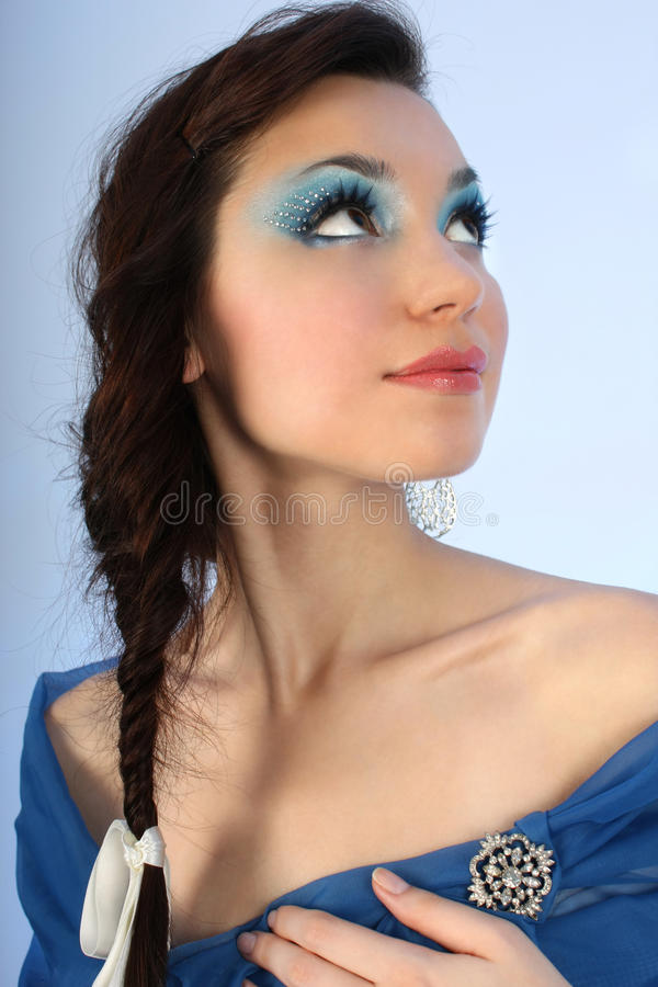Download Attractive Woman With Make-up Looking Up Stock Photo - Image: 17037246