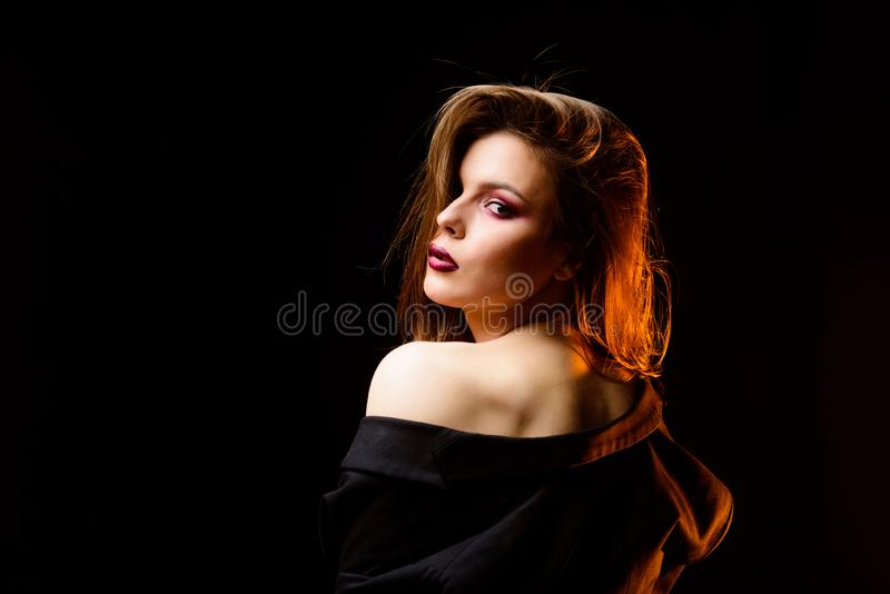 Attractive woman makeup face. Dark lips smoky eyes. Perfect makeup. Makeup cosmetics concept. Confident in her. Impeccable appearance. Feminine and glamorous royalty free stock photos