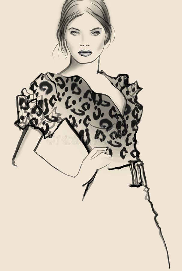 Attractive woman model posing royalty free illustration