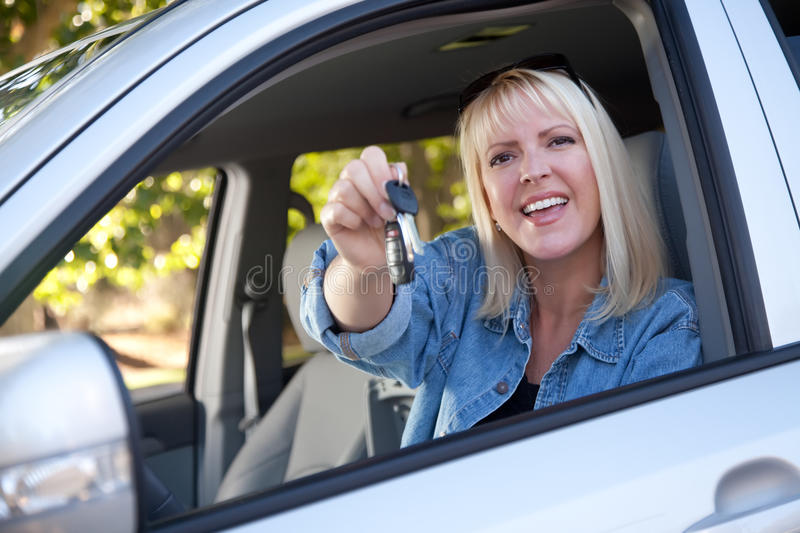 Download Attractive Woman In New Car With Keys Stock Photo - Image: 11067558