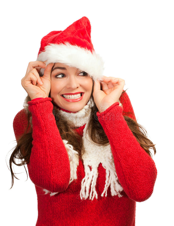 Download Attractive Woman Peeking Out From Santa Hat Stock Image - Image: 21896757
