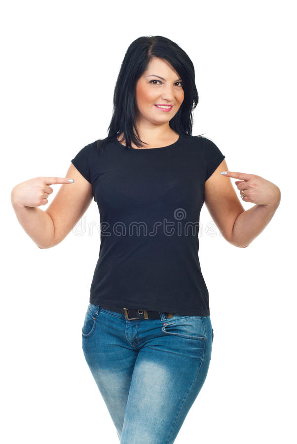 Download Attractive Woman Pointing To Her T-shirt Stock Image - Image of fashion, point: 17174853