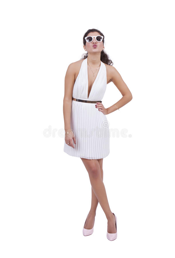 Attractive woman posing against white background stock photo