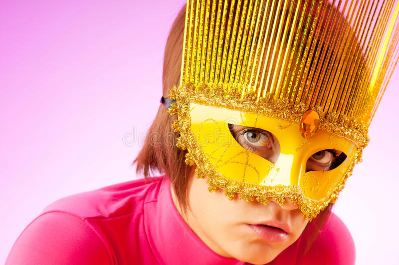 Download Attractive Woman Posing In The  Mask Stock Image - Image of glamorous, beautiful: 17276497