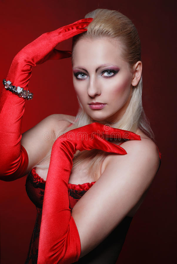 Download Attractive Woman In A Red Gloves Stock Photo - Image: 26309458