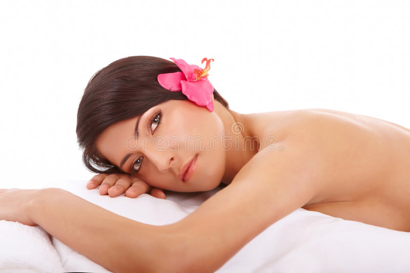 Attractive Woman Relaxing Spa royalty-vrije stock foto