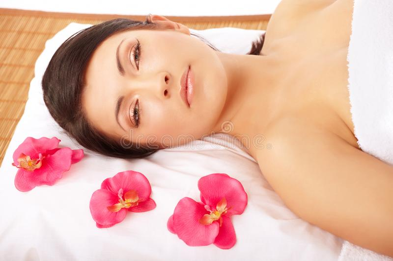Attractive Woman Relaxing Spa stock image