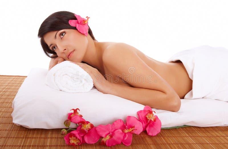 Attractive Woman Relaxing Spa stock afbeeldingen