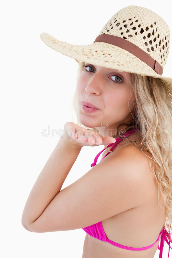 Download Attractive Woman Sending An Air Kiss Stock Photo - Image: 25331000