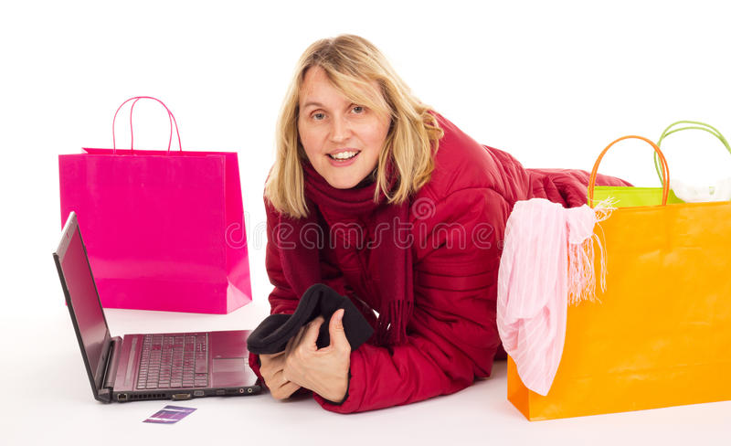 Download Attractive Woman Shopping Over The Internet Stock Image - Image of christmas, internet: 26605087