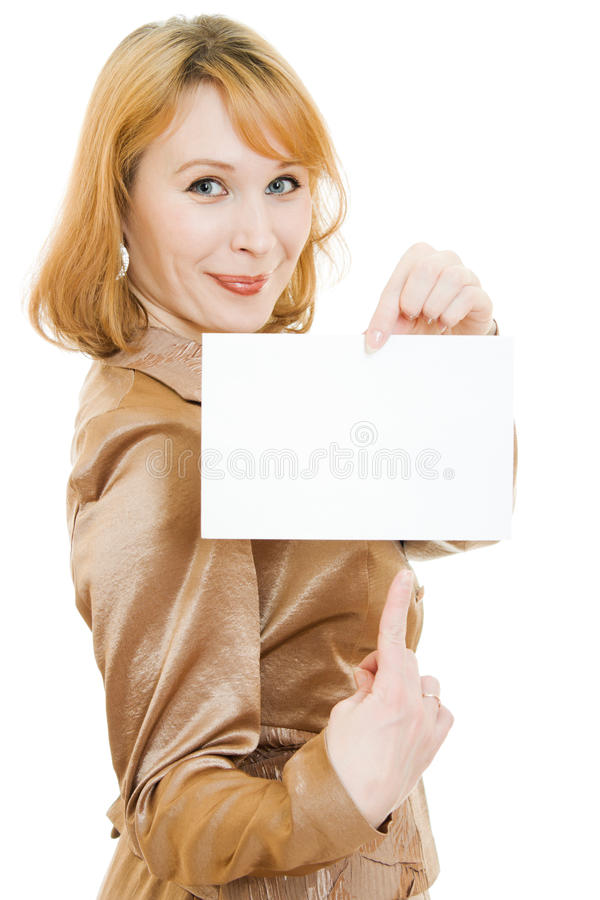 Download Attractive  Woman Showing Blank Signboard Stock Image - Image: 23887577
