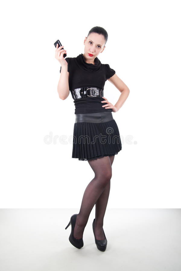 Attractive woman with smartphone stock photography