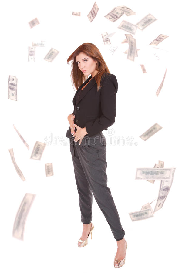Download Attractive Woman Takes Lot Of 100 Dollar Bills Stock Photo - Image: 11731612