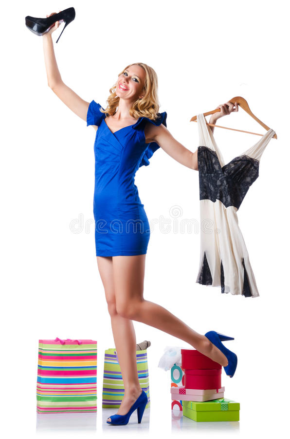 Download Attractive Woman Trying New Clothing Stock Image - Image of attractive, choice: 27047607