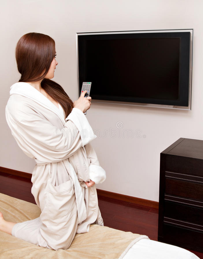 Download Attractive Woman Watching TV Stock Image - Image: 25520881
