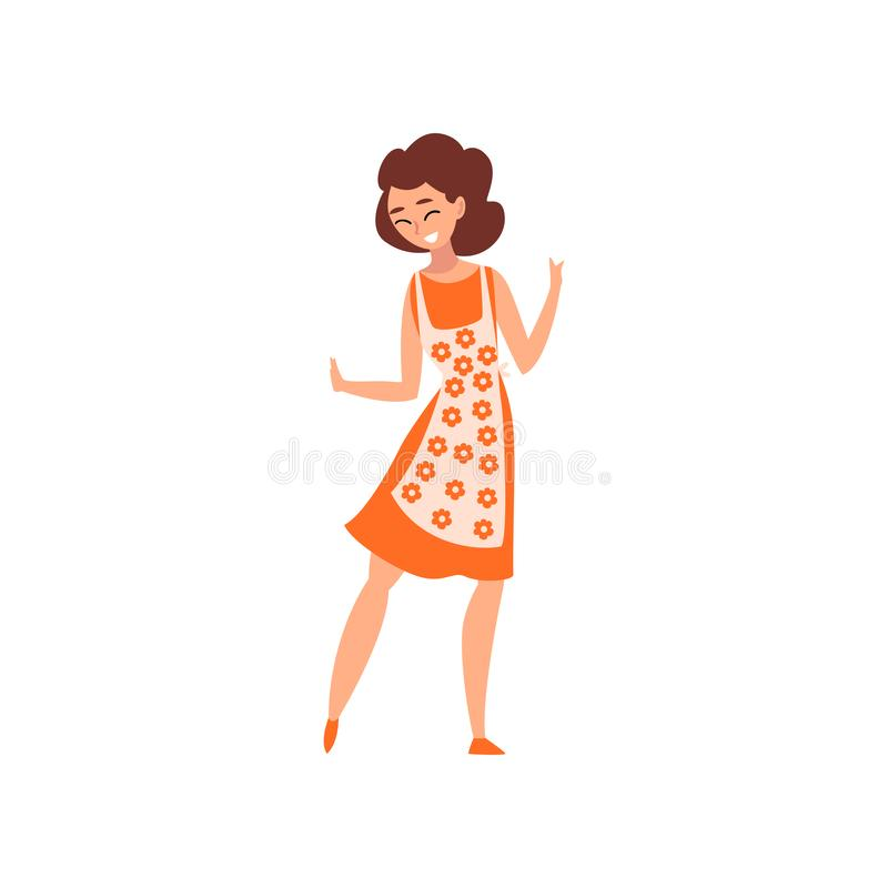 Attractive woman wearing dress and apron, mother or housewife vector Illustration. Isolated on a white background vector illustration