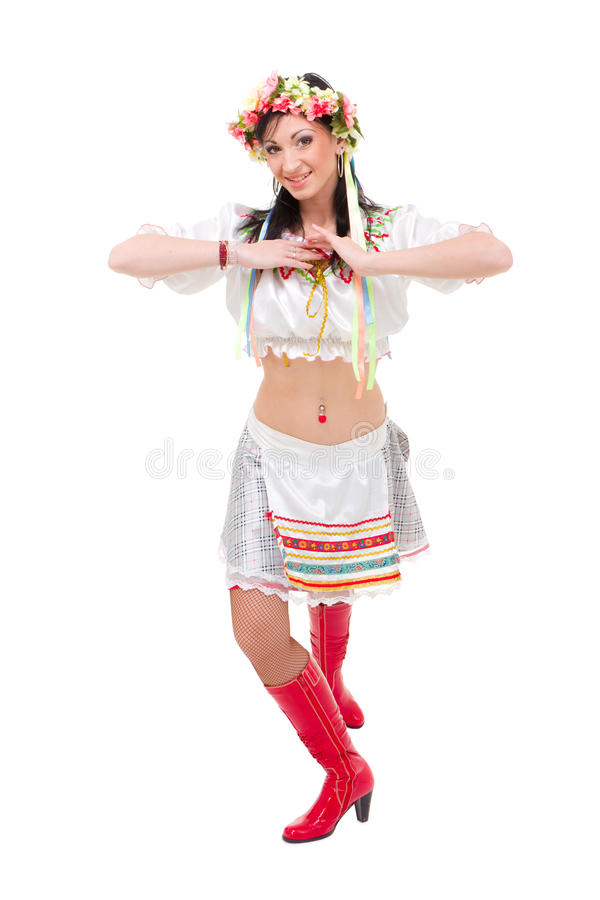 Attractive Woman Wearing A Folk Ukrainian Dress Royalty Free Stock Photos
