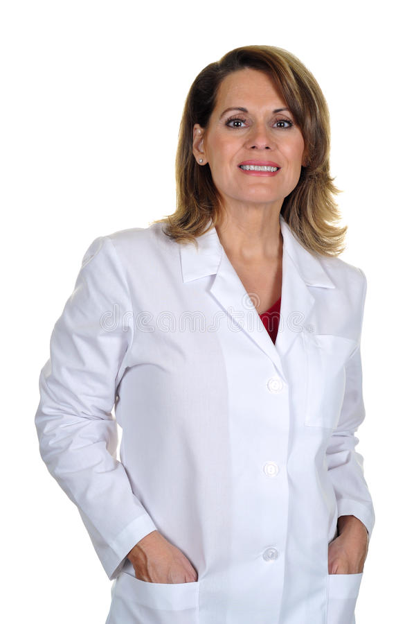 Attractive Woman Wearing a Labcoat stock images