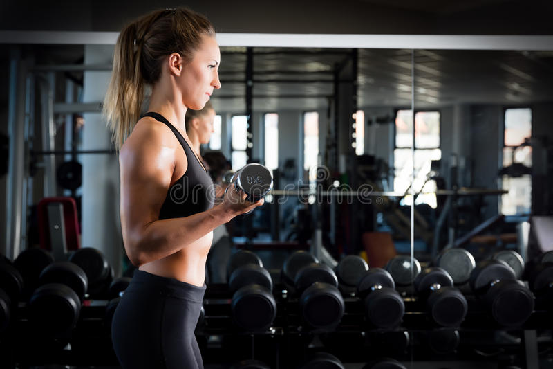 Attractive woman weightlifting at the gym. royalty free stock photography