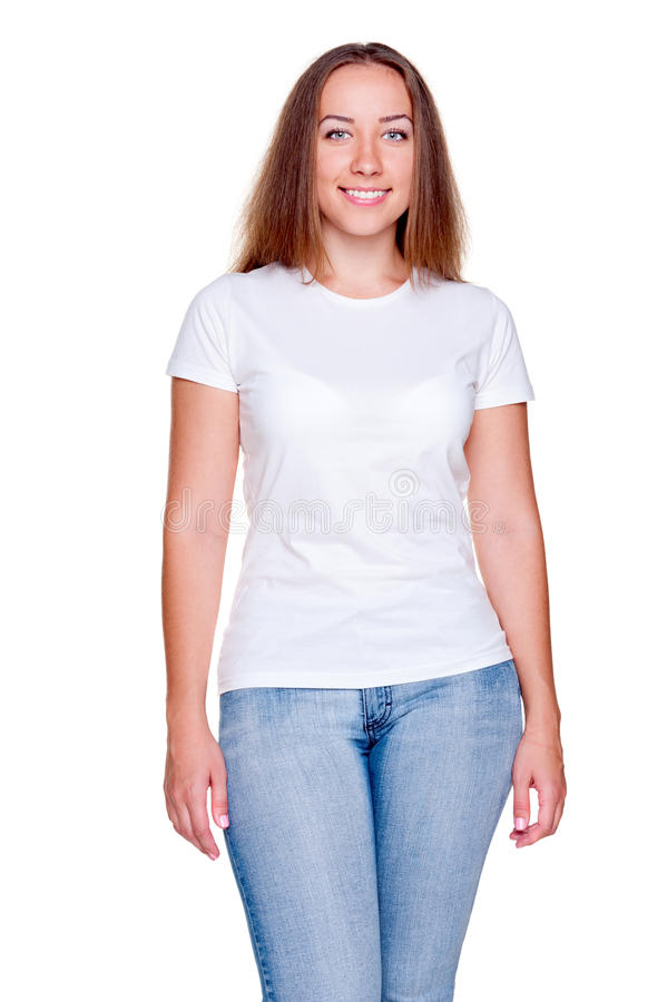Attractive Woman In White T-shirt Stock Image