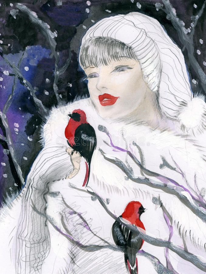 Download Attractive Woman In Winter Forest Stock Illustration - Illustration: 21373113