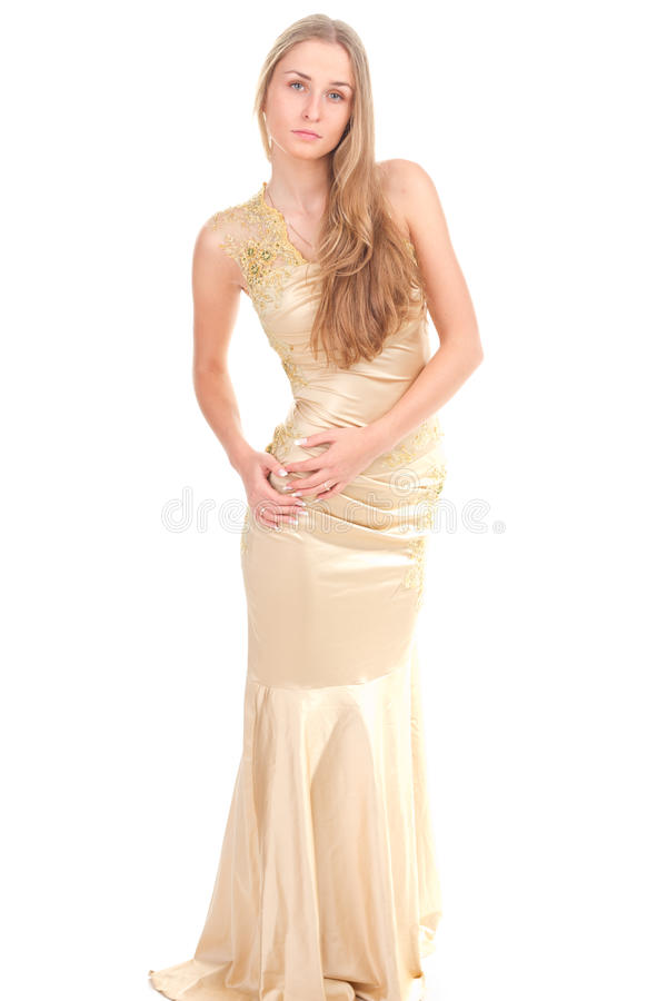 Attractive Woman In Yellow Dress Stock Image