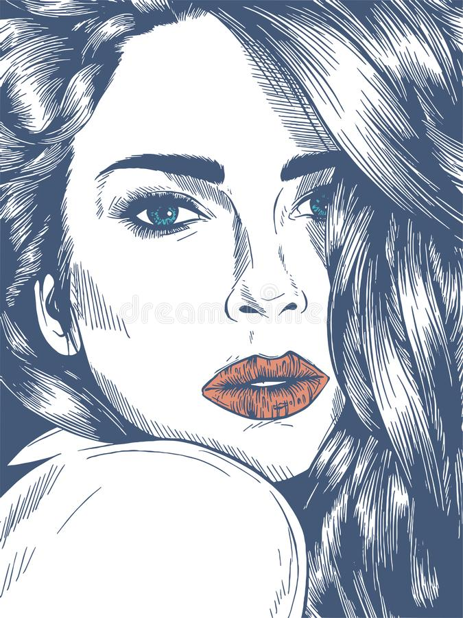 Attractive women, hand drown detailed vector illustration isolated on the white background stock illustration