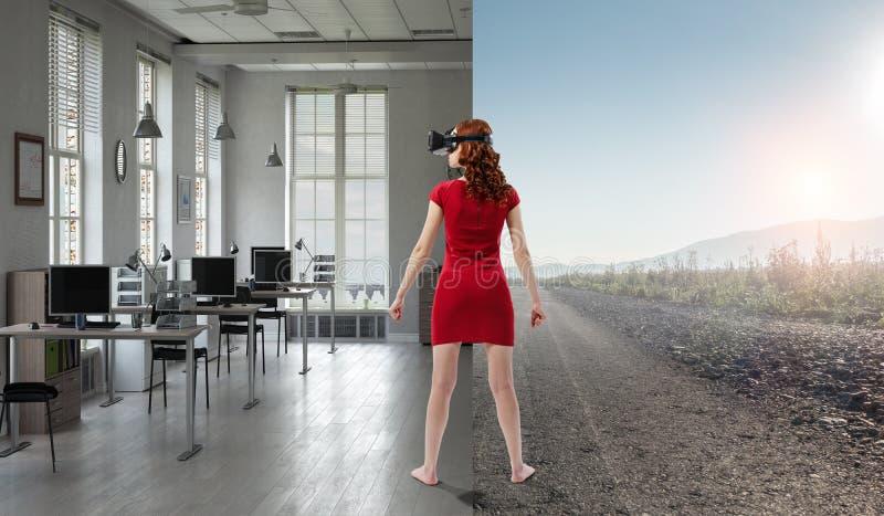 Experiencing virtual technology world. Mixed media stock image