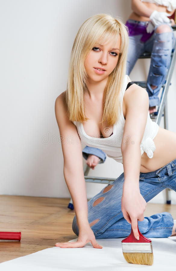 Attractive workers stock photography