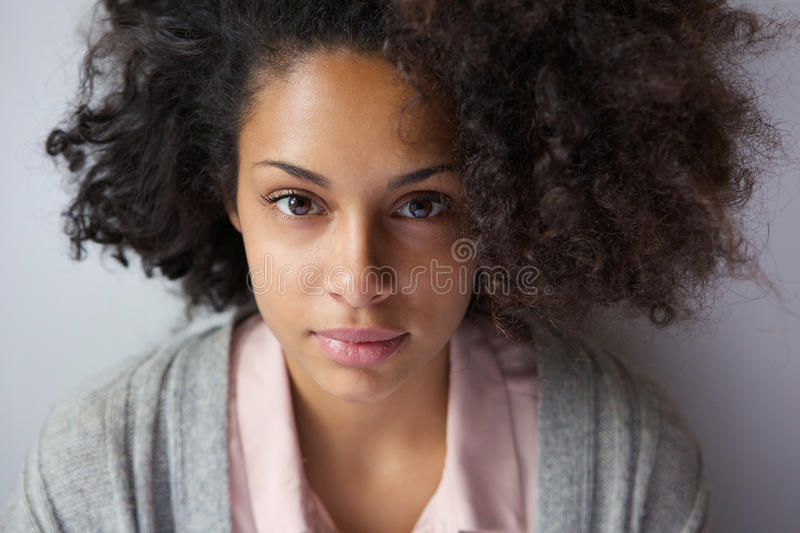 Attractive young african american woman. Close up portrait of an attractive young african american woman