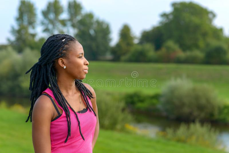 Attractive young African woman with braids. Standing deep in thought looking out over scenic countryside stock photo