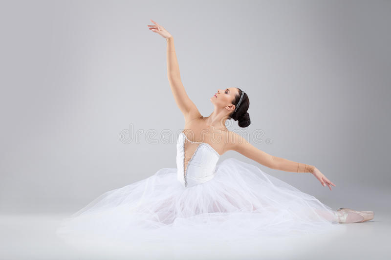 Attractive young ballet dancer acting out. stock images