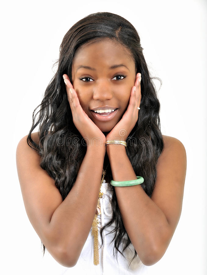 Attractive young black woman - shocked surprise