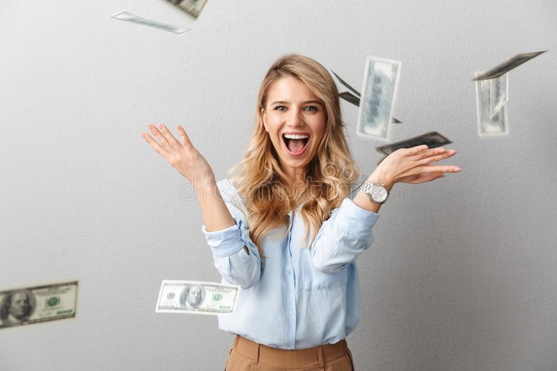 Attractive young blonde businesswoman wearing shirt stock photography