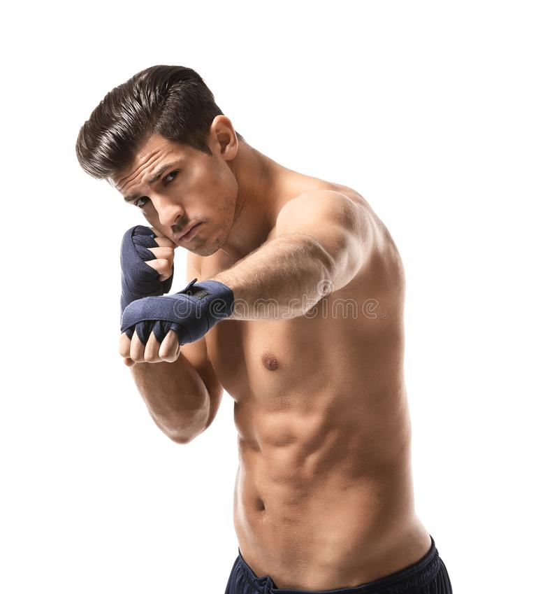 Attractive young boxer royalty free stock photos