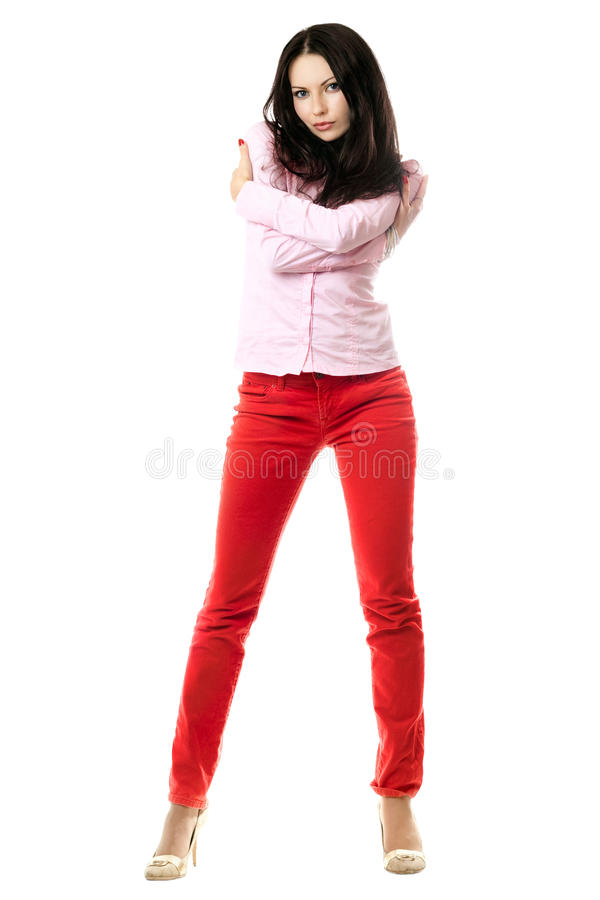Download Attractive Young Brunette In Pink Shirt Stock Image - Image: 14857403