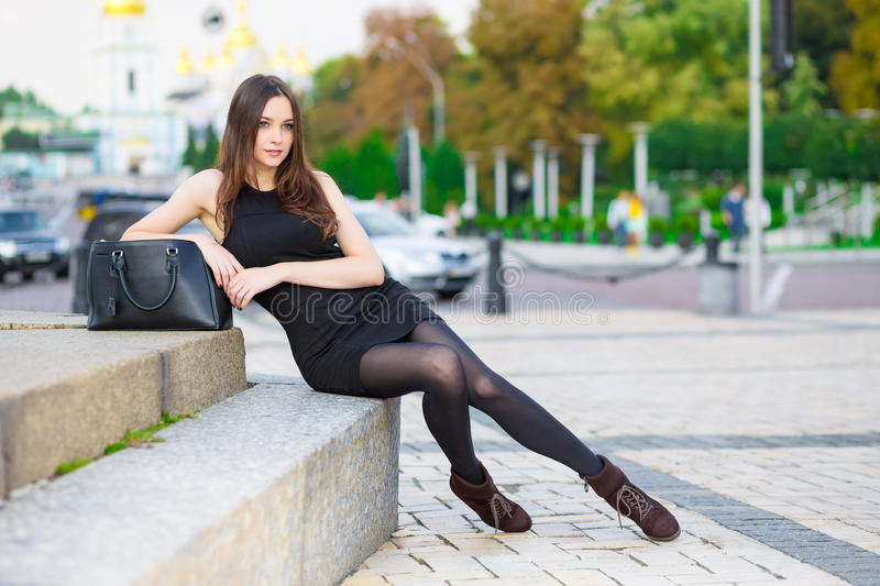 Attractive young brunette royalty free stock photography