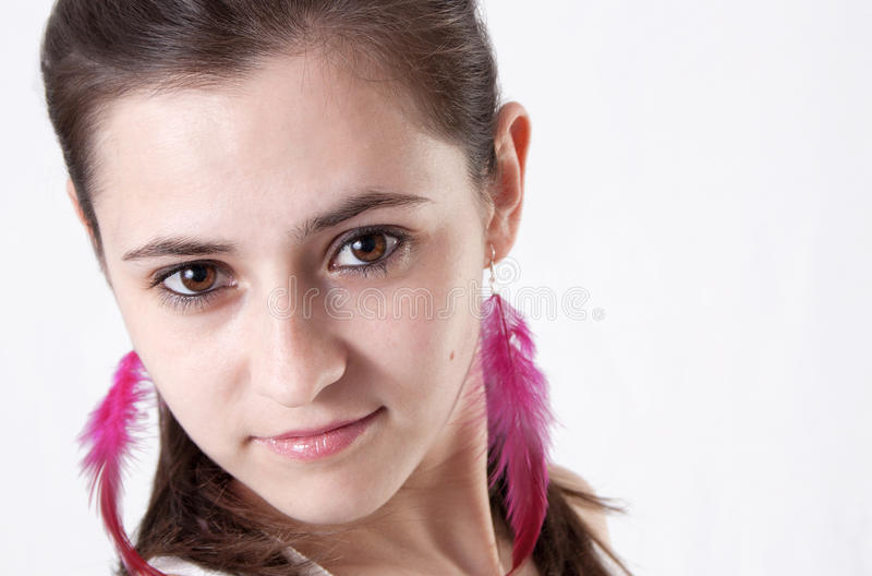 Attractive young brunette woman's portrait royalty free stock images
