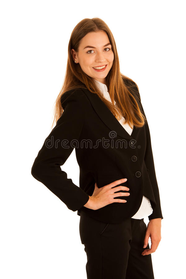 Attractive young business woman - corporative portrait isolated royalty free stock image