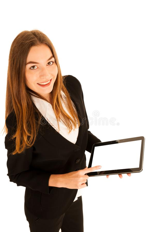 attractive young business woman showing presentation on her tablet stock image